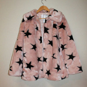 COZY PLUSH Faux Fur Pink Star Coat Designer Jacket